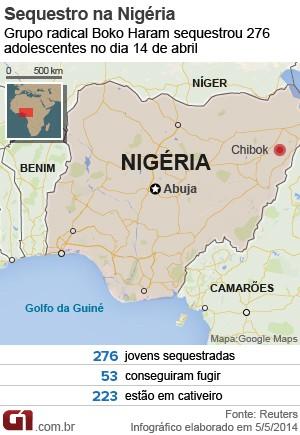 Arte mapa sequestro Nigéria (Foto: G1)