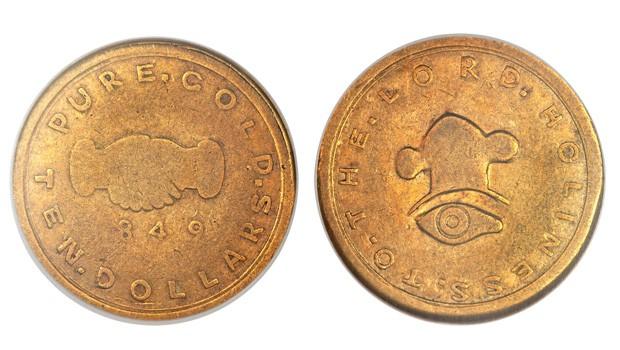 Moeda de ouro de US$ 10 cunhada em 1849 foi vendida por R$ 1,5 milhão em leilão nos EUA (Foto: Heritage Auctions/AP)