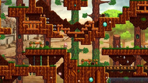 Cena de 'Mr. Bree', jogo de plataforma brasileiro que apresenta fases complexas (Foto: Divulgação/Tawstudio)