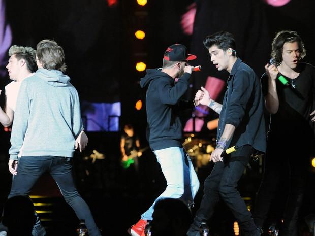 One Direction no Parque dos Atletas, no Rio, nesta quinta-feira (8) (Foto: Alexandre Durão/G1)