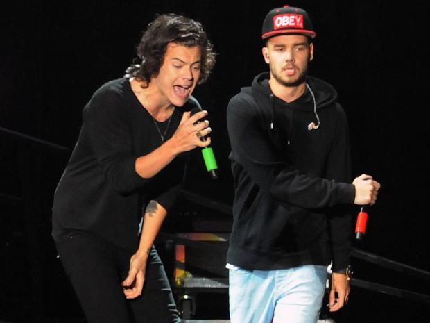 Harry Styles e Liam Payne no Parque dos Atletas, no Rio, nesta quinta-feira (8) (Foto: Alexandre Durão/G1)